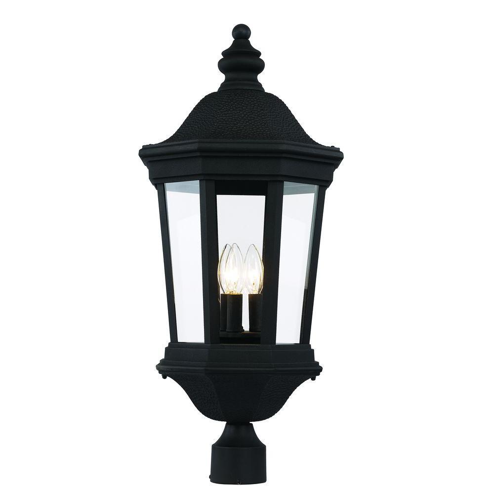 3-Light Black Outdoor Chateau Villa Post Lantern