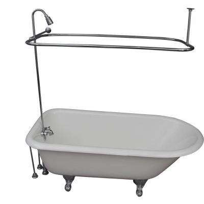 5.6 ft. Cast Iron Ball and Claw Feet Roll Top Tub in White with Polished Chrome Accessories