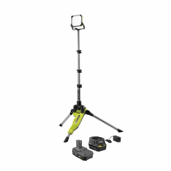 RYOBI ONE+ 18V Cordless Tripod Stand Light Kit with One 1.5 Ah Battery and Charger | The Home Depot