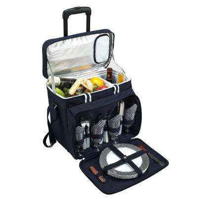 Deluxe Picnic Cooler with Wheels for 4 in Bold Navy