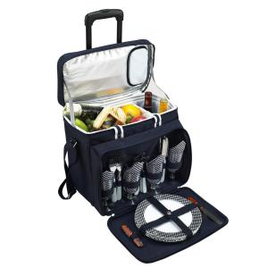 Deluxe Picnic Cooler with Wheels for 4 in Bold Navy by