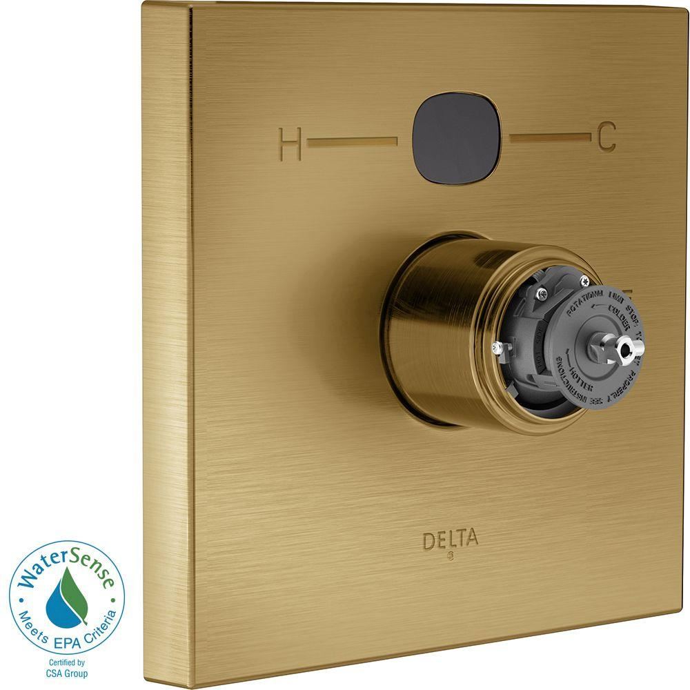 Delta Temp2O Square 1-Handle Valve Trim Kit in Champagne Bronze (Valve and Handles Not Included)