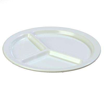 10 in. Diameter 0.75 in. H Melamine Compartmented Plate in White (Case of 48)