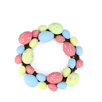 10 in. Pink, Yellow and Blue Floral Stem Easter Egg Spring Grapevine Wreath