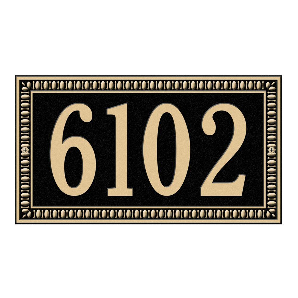 Egg and Dart Rectangular Black/Gold Standard Wall One Line Address Plaque