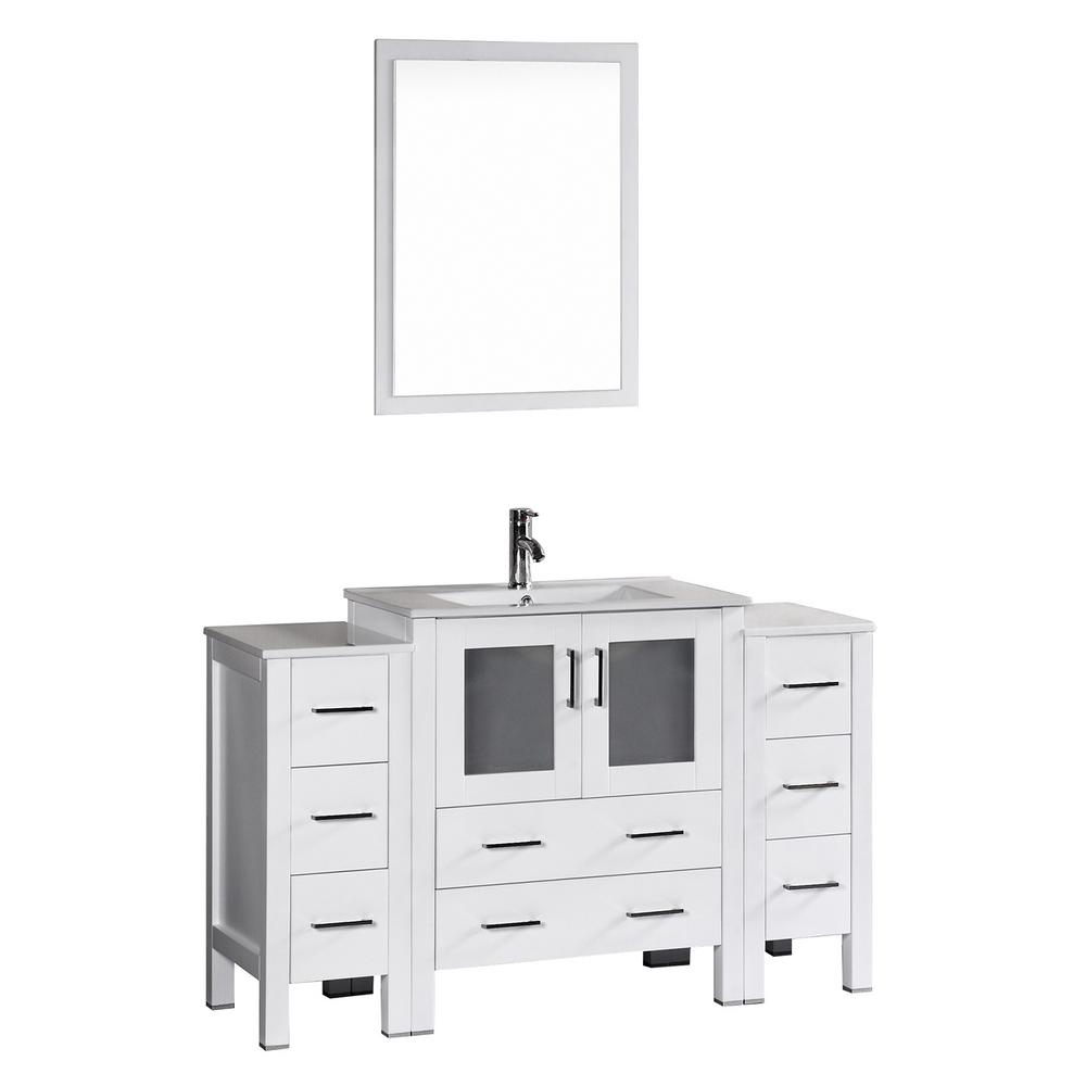Bosconi Bosconi 54 in. W Single Bath Vanity in White with Ceramic Vanity Top with White Basin and Mirror