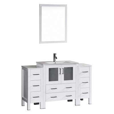 Bosconi 54 in. W Single Bath Vanity in White with Ceramic Vanity Top with White Basin and Mirror