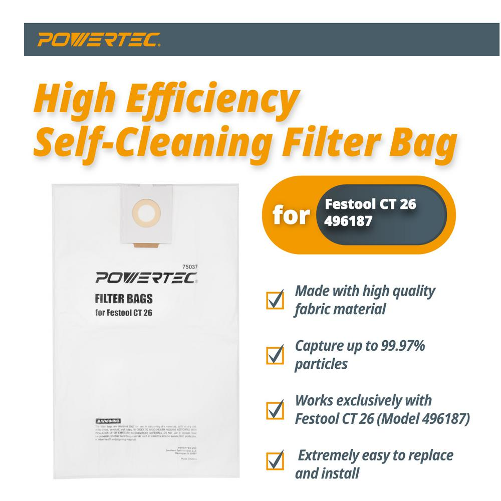 POWERTEC 75055 Self Cleaning CT 48 Replacement for Festool Filter Bags-5PK