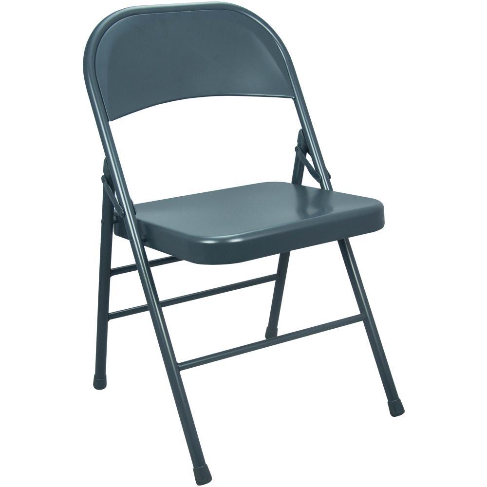 Advantage Slate Blue Metal Folding Chair (4-Pack)