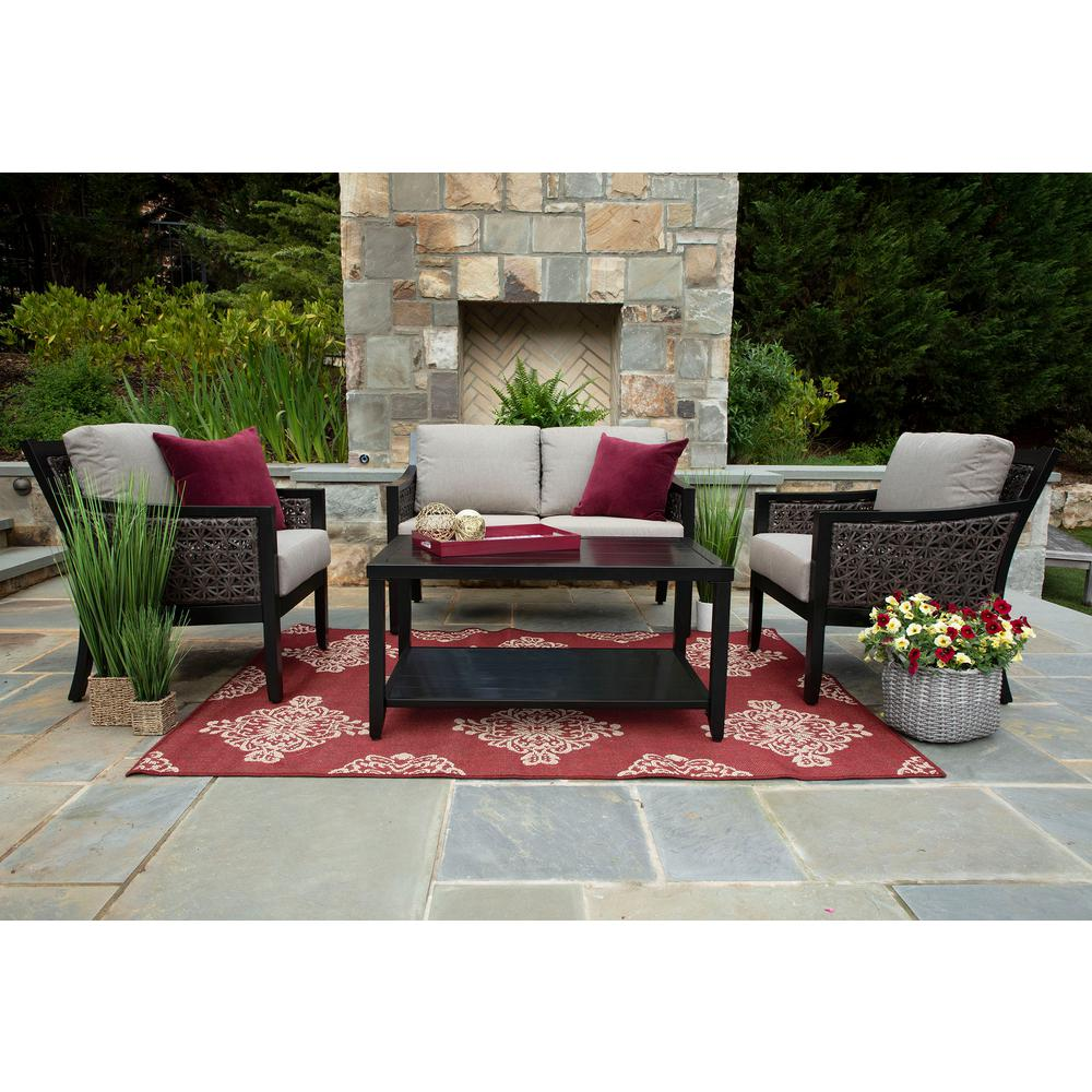 Canopy Wicker Deep Seating Set Shale Cushions
