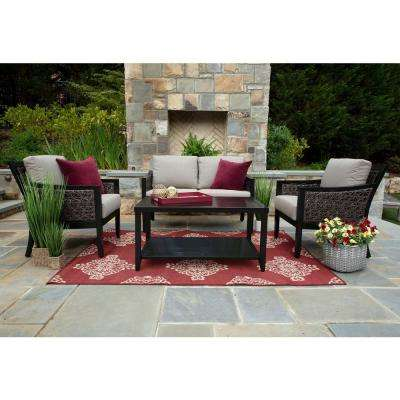 Hawthorn 4-Piece Resin Wicker Patio Deep Seating Set with Sunbrella Cast Shale Cushions