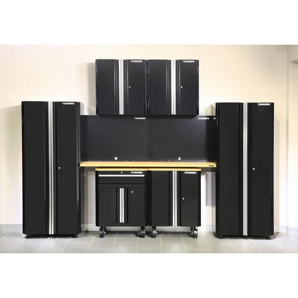 Husky 95 in. H x 133 in. W x 18 in. D Steel Garage Cabinet Set in Black (8-Piece)
