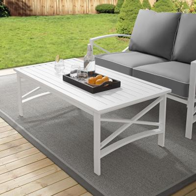 Kaplan White Rectangle Metal Outdoor Coffee Table
