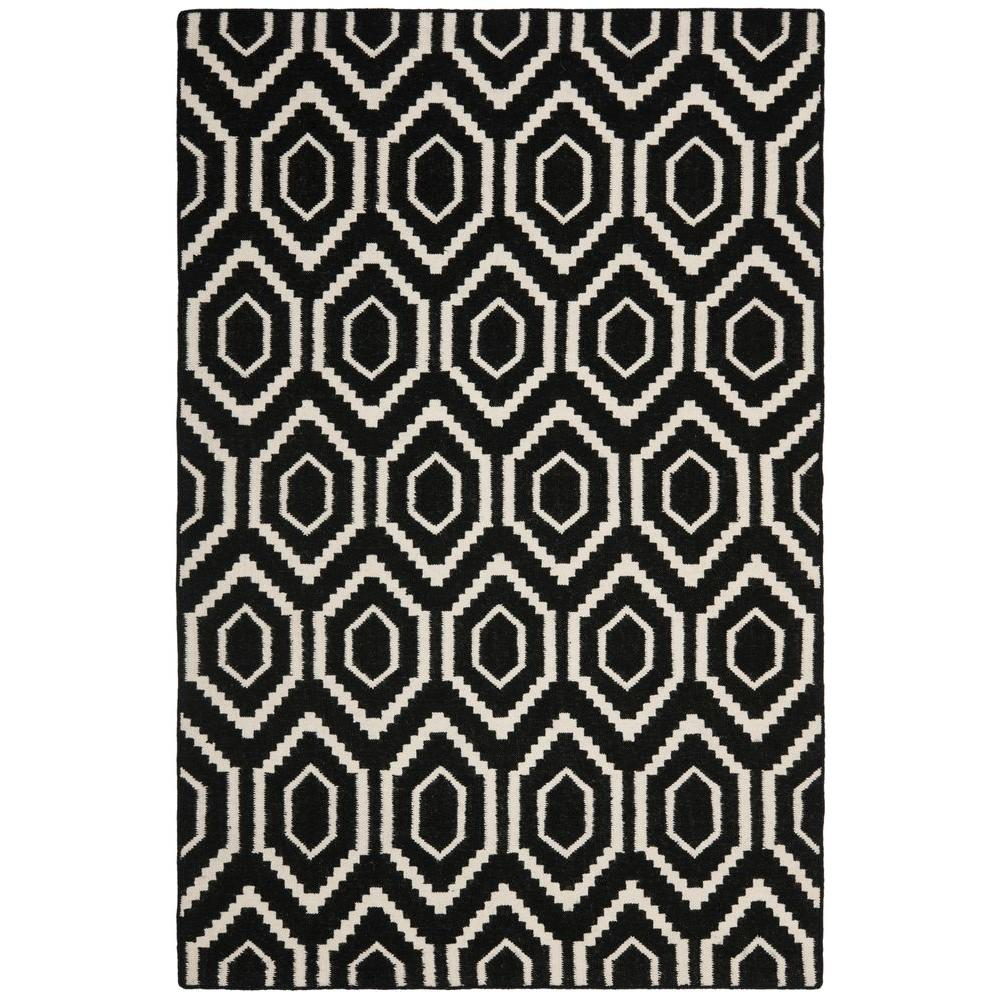 Safavieh Dhurries Black Ivory 9 Ft X 12 Ft Area Rug Dhu556l 9 The Home Depot