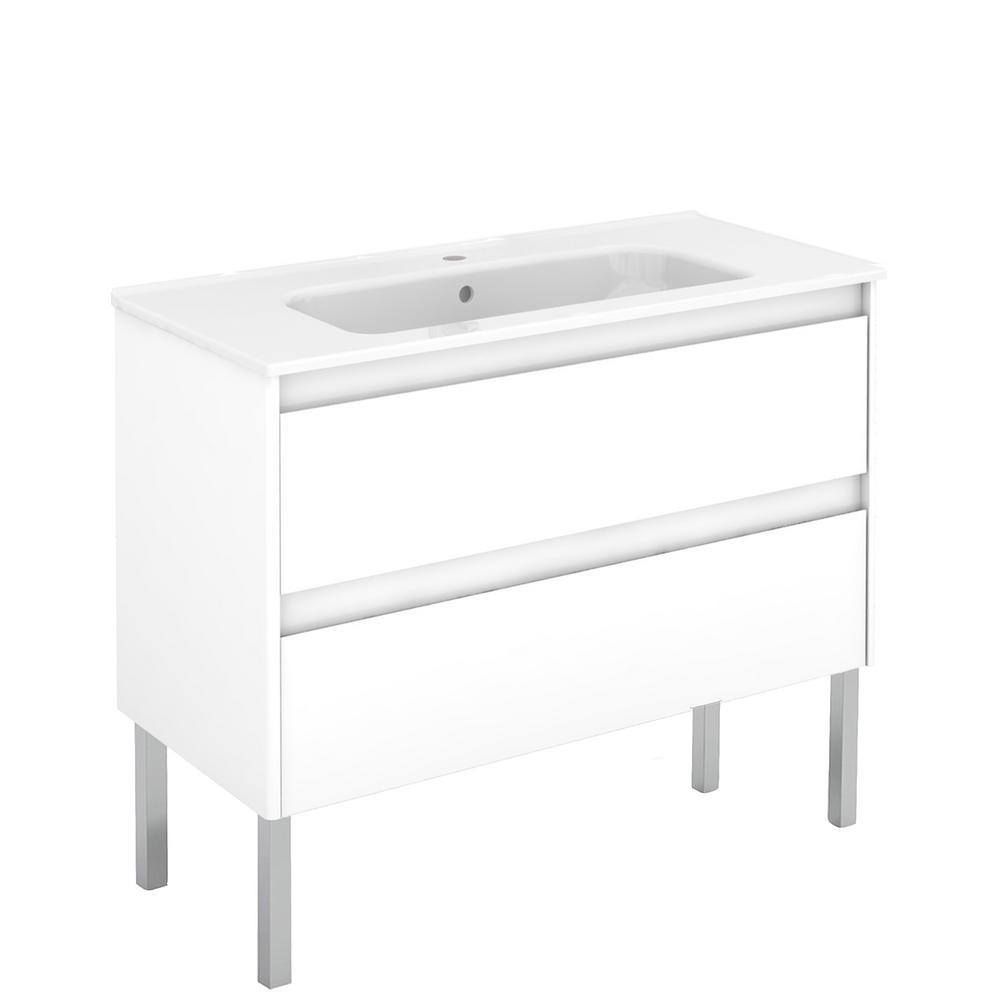 Ambra 39.8 in. W x 18.1 in. D x 32.9 in. H Bathroom Vanity Unit, Vanity Top and Basin in Gloss White