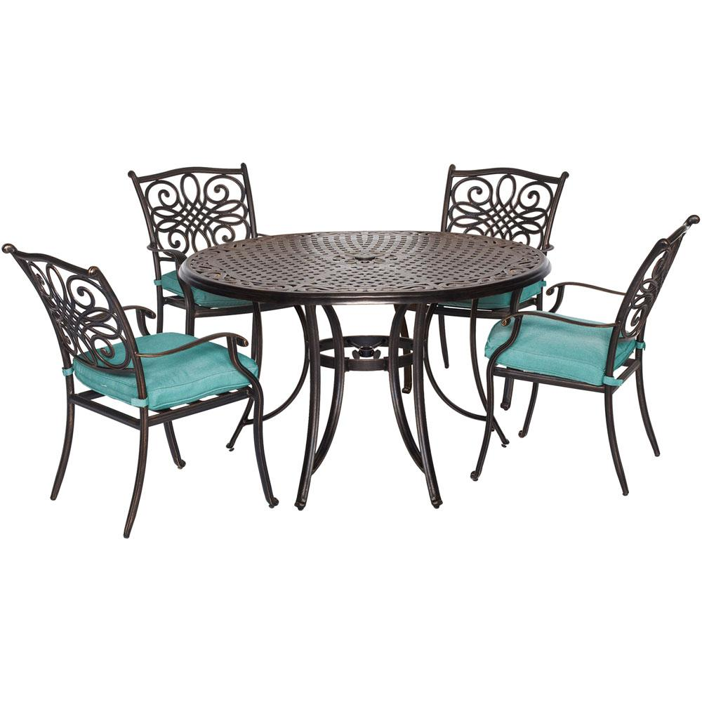Traditions 5-Piece Outdoor Round Patio Dining Set with Blue Cushions