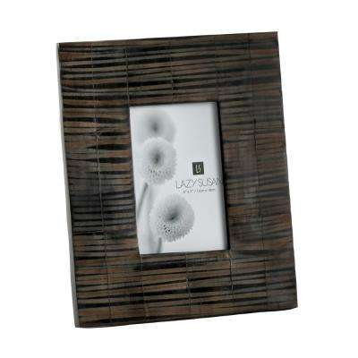 Striped Horn 1-Opening 5 in. x 7 in. Natural Horn And Resin Picture Frame