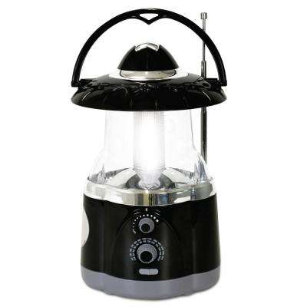Multifunction Battery Operated Black Radio Lantern with Flashlight