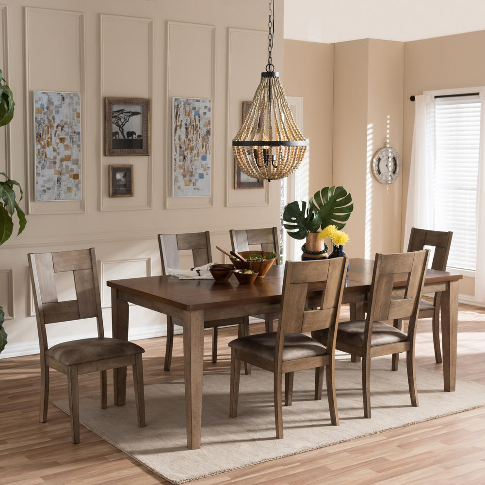 Baxton Studio Gray Wood Set Brown Gray