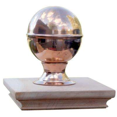 Miterless 4 in. x 4 in. Untreated Wood Slip Over Fence Post Cap with Copper Finial Globe