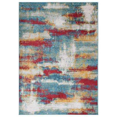 Rixos Collection Multi Color / Blue 7 ft. 10 in. x 9 ft. 10 in. Distressed Modern Abstract Design Area Rug