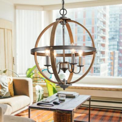 Globe 4-Light Rustic Oil Rubbed Bronze Orb Modern Farmhouse Open Caged Chandelier Pendant with Walnut Wood Accents