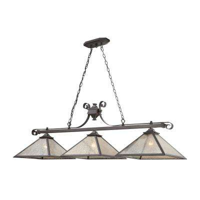 Plano 3-Light Iron Rust with Mercury Glass Shades Billiard Light