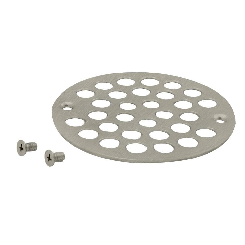 4 in. Brass Shower Strainer Grid with Screws in Satin Nickel