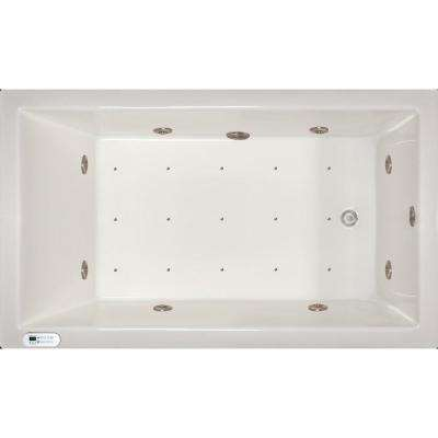 6 ft. Left Drain Drop-In Whirlpool and Air Bath Tub in White with Tranquility Package