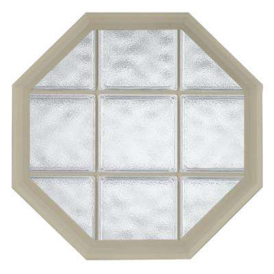 26 in. x 26 in. Acryilc Block Fixed Octagon Geometric Vinyl Window in Tan