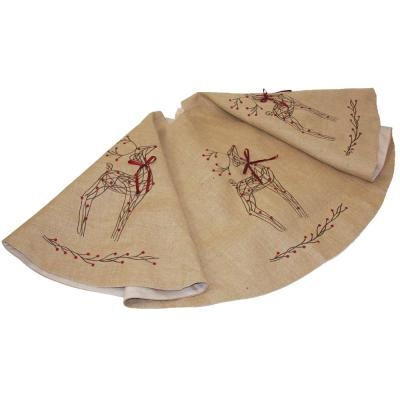 56 in. Rustic Reindeer Jute Round Christmas Tree Skirt
