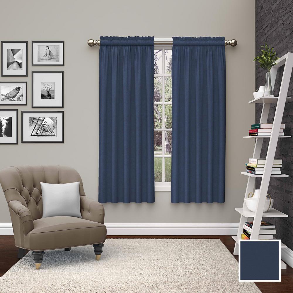 Light Filtering Indigo Smooth Poly/Cotton Rod Pocket Curtain