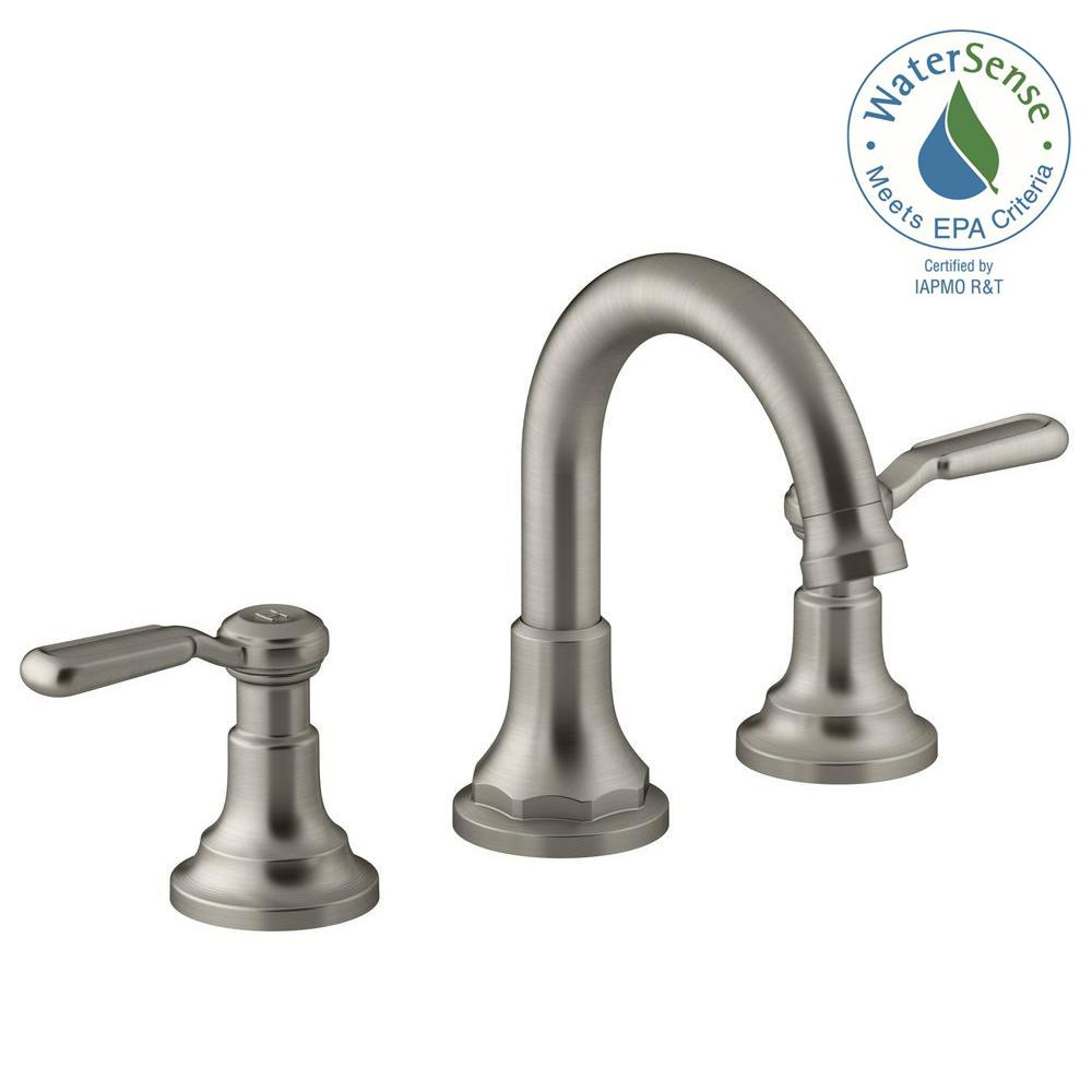 KOHLER Worth In Widespread Handle Bathroom Faucet In Vibrant - Kohler bathroom faucet handles
