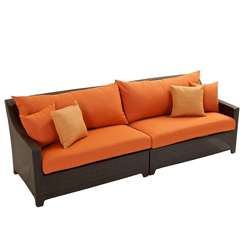 Beau RST Brands Deco Patio Sofa With Tikka Orange Cushions