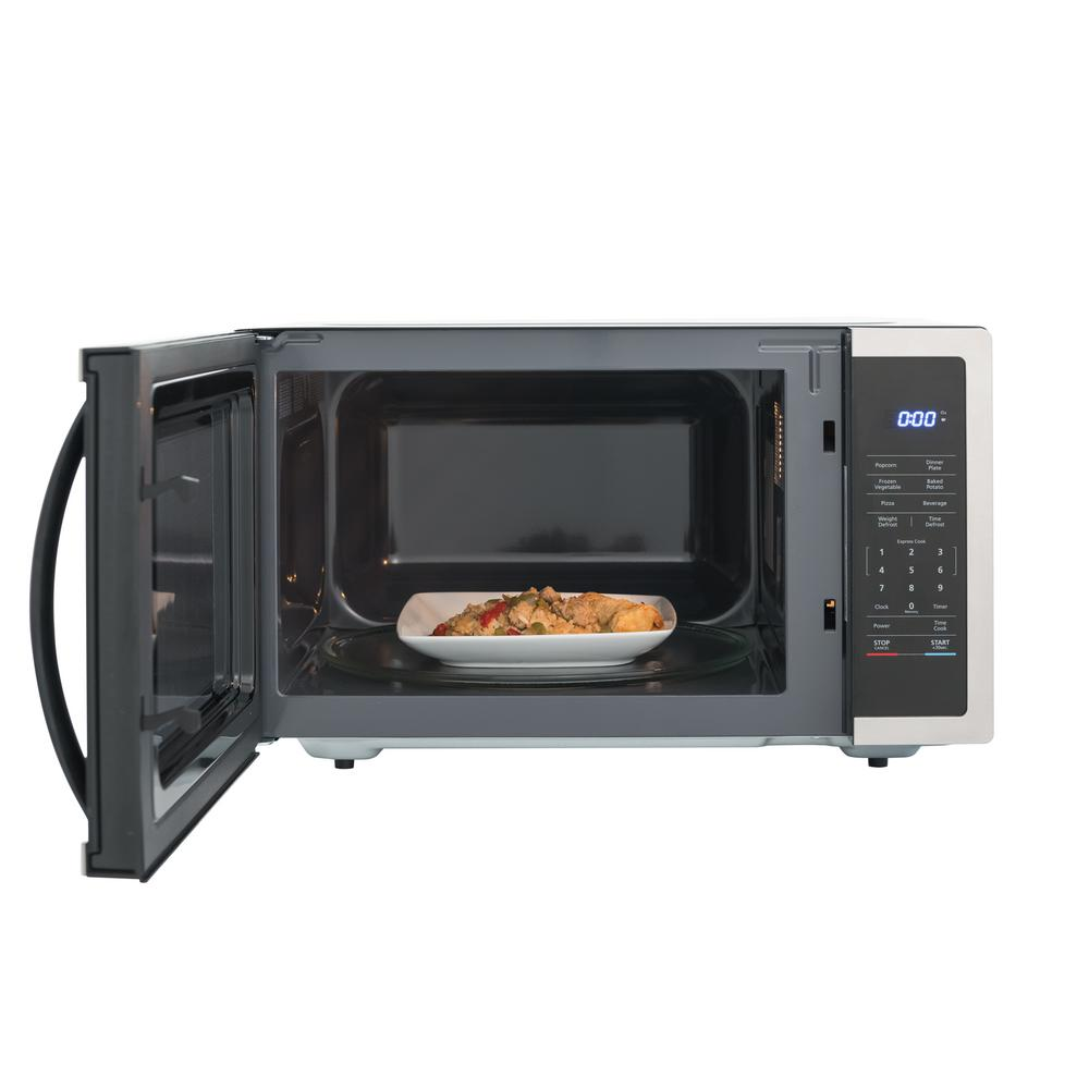 Magic Chef 1 6 Cu Ft Countertop Microwave In Stainless Steel With Gray Cavity