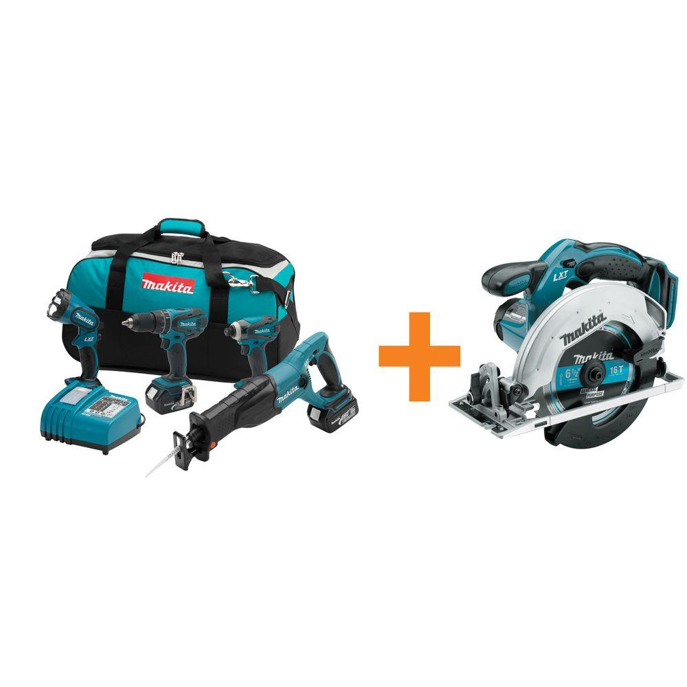 Makita 18-Volt LXT Lithium-Ion Cordless Combo Kit (4-Tool) with Free Circular Saw