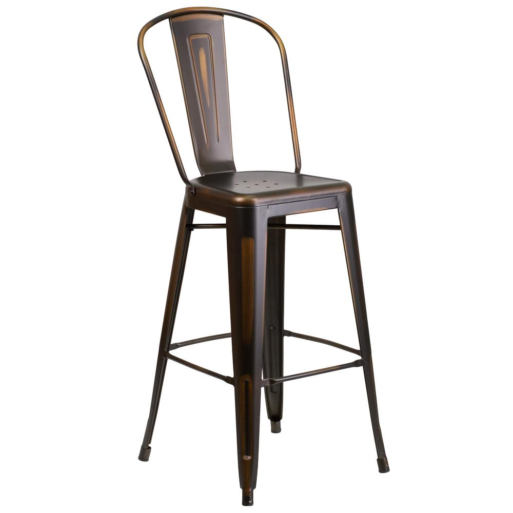Flash Furniture 30 In Distressed Copper Bar Stool Et353430cop The Home Depot