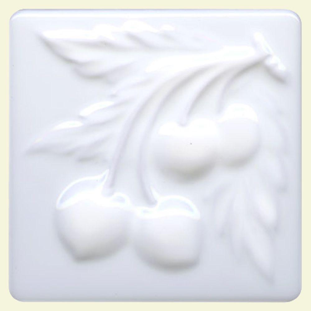 Merola Tile Bumpy Blanco Cherry 4 in. x 4 in. Decor Ceramic Wall Tile