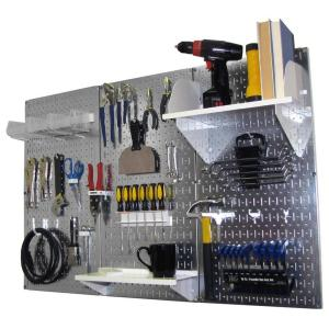 Wall Control 32 inch x 48 inch Metal Pegboard Standard Tool Storage Kit with Galvanized Pegboard and White Peg... by Wall Control