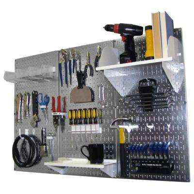 32 in. x 48 in. Metal Pegboard Standard Tool Storage Kit with Galvanized Pegboard and White Peg Accessories