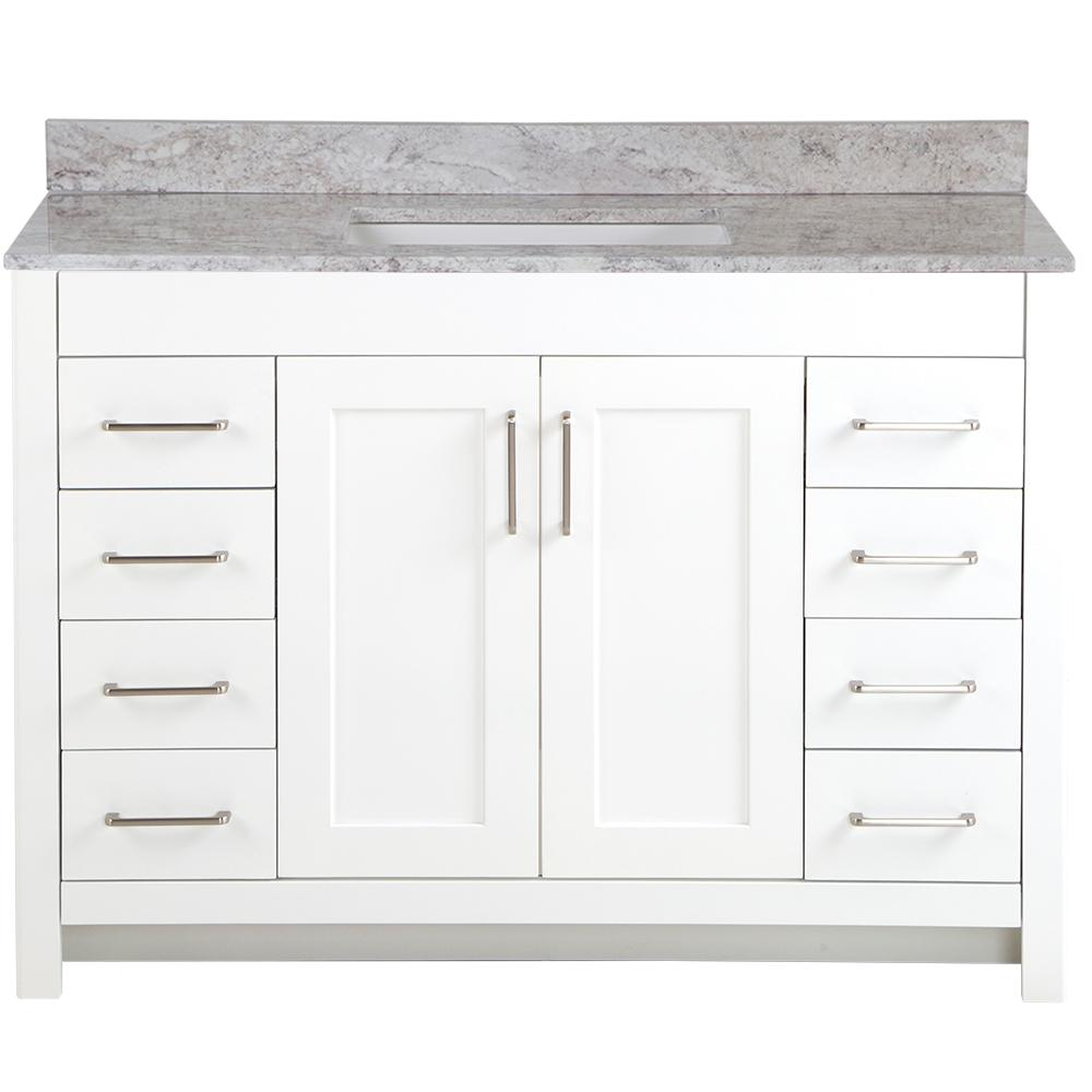 Home Decorators Collection Westcourt 49 in. W x 22 in. D Bath Vanity in White with Stone Effect Vanity Top in Winter Mist with White Sink