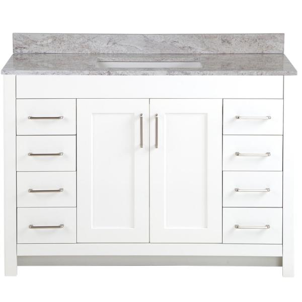 Westcourt 49 in. W x 22 in. D Bath Vanity in White with Stone Effect Vanity Top in Winter Mist with White Sink