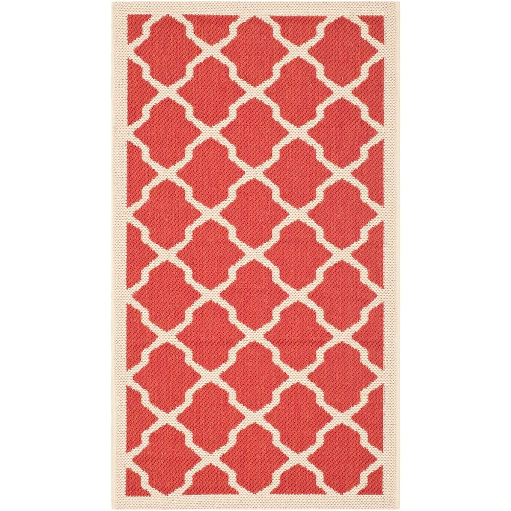 Safavieh Courtyard Red/Bone 2 ft. x 3 ft. 7 in. Indoor/Outdoor Area Rug