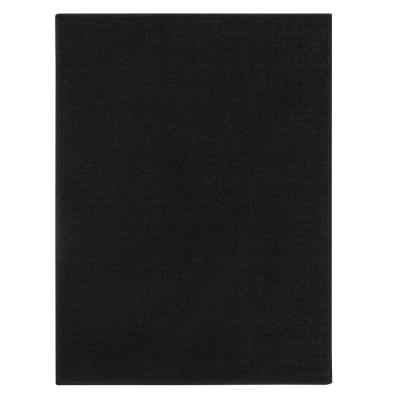 Ottohome Collection Solid Design Black 2 ft. 3 in. x 3 ft. Area Rug
