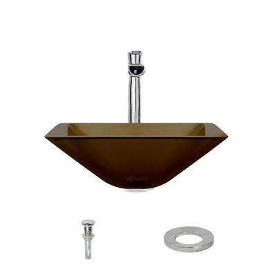 Glass Vessel Sink in Taupe with 731 Faucet and Pop-Up Drain in Chrome