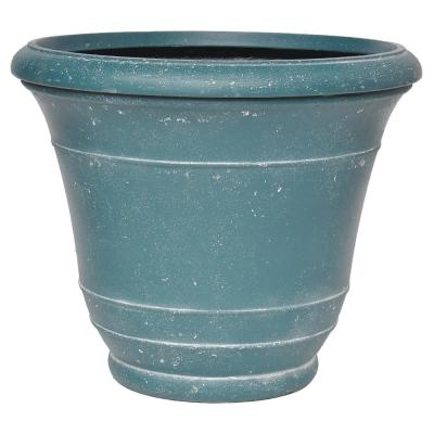 19.25 in. D Cast Stone Banded Planter in a White Wash Charlesto