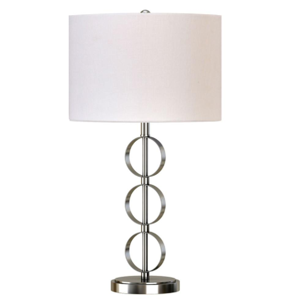 26 in. Brushed Nickel Stacked Circles Table Lamp with White Linen