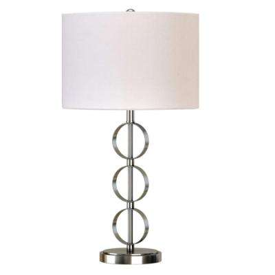 26 in. Brushed Nickel Stacked Circles Table Lamp with White Linen Shade