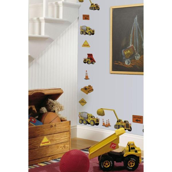 5 in. x 11.5 in. Under Construction Peel and Stick Wall Decal