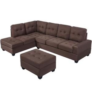 Harper Bright Designs Brown 3 Piece Sectional Sofa Microfiber With